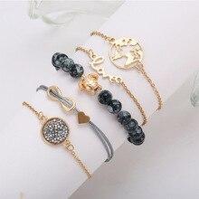 5pcs/set Bohemian Turtle Charm Map Bracelets Bangles For Women Crystal Gold Color Strand Sets Jewelry