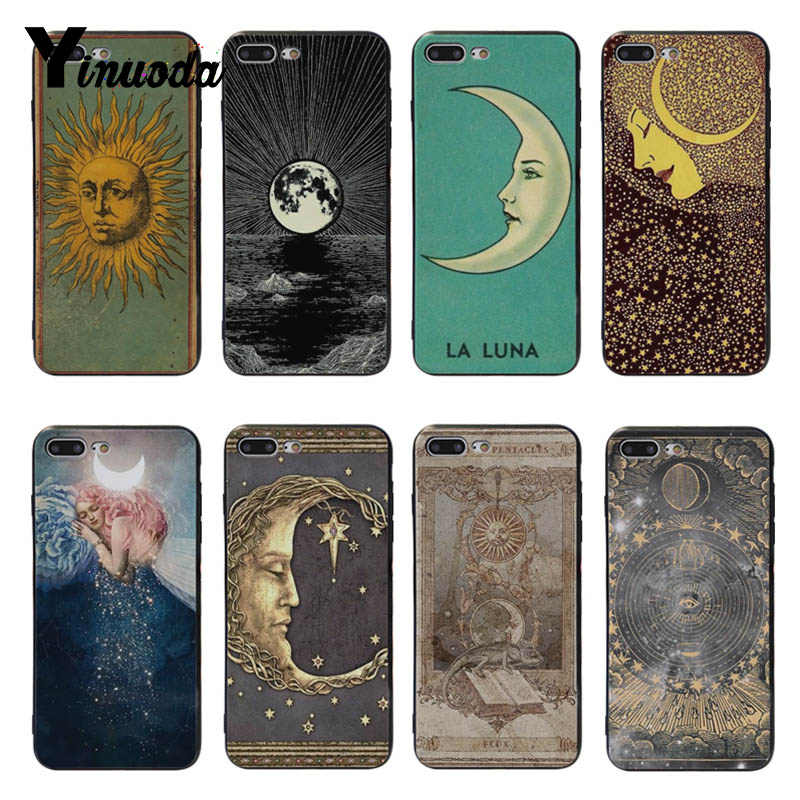 Yinuoda Sun and moon Black Soft silicone Cover case For iPhone 5 5s SE 6 6plus 7 7Plus 8 8plus X XS XR XSMax
