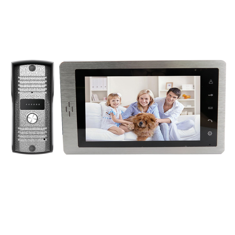 Free Shipping Brand New Wired 7 Screen LCD Video Intercom Door Phone System Touch Key Monitor + Outdoor Doorbell Camera 7 inch video doorbell tft lcd hd screen wired video doorphone for villa one monitor with one metal outdoor unit night vision