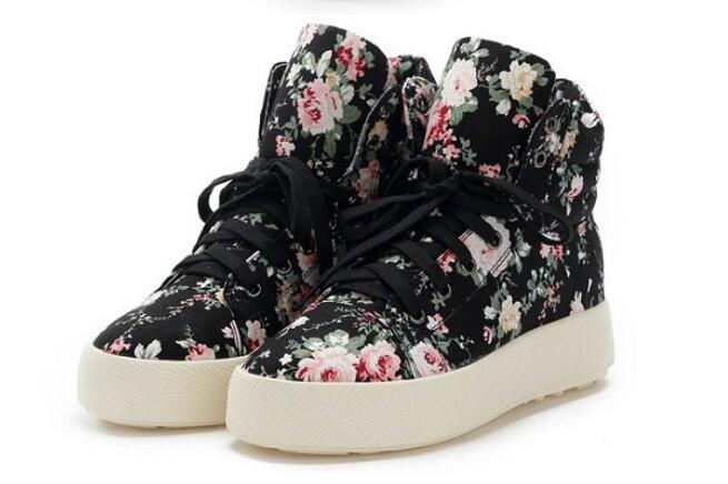 The new special hot wild floral canvas shoes within the higher High quality women high shoes Women canvas shoes