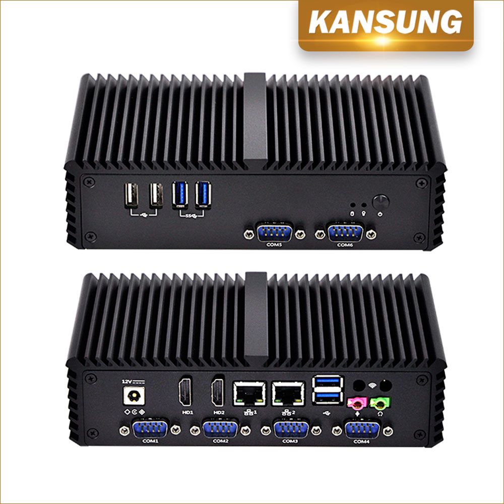 Cheap Fanless Mini PC Celeron 3215U CPU Dual Lan Dual Display 6 COM 6 USB Industrial