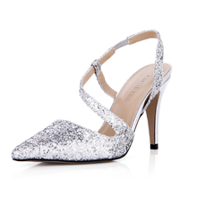 2017 New Silver Glittering Elegant Wedding Shoes Women Pointed Toe Stiletto Super High Heels Ladies Pumps Zapatos Mujer 3364-e2 цены