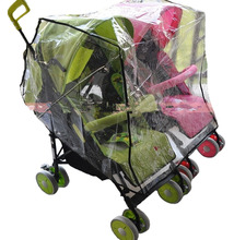 Twin Baby Flat Row Seat Cover General Waterproof Rain Cover Dust Cart Wind Shield Parts Push Chair CartYUJU28