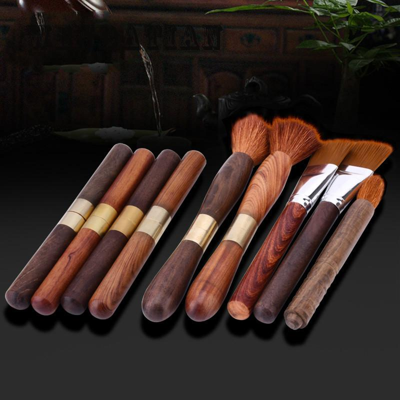 Kitchen Teaware Stainless steel red sandalwood handle pu er Tea Needles Cutters brush set ...