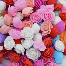100Pcs 3.5cm Mini PE Foam Rose Artificial Flower Heads For Party DIY Wreaths Crafts Accessories Wedding Decoration Handmade flor