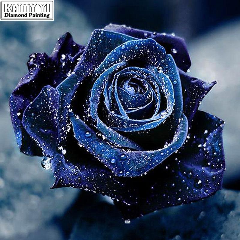 5D DIY Diamantfärgad mosaik diamantbroderi Blå ros broderad Cross - Konst, hantverk och sömnad