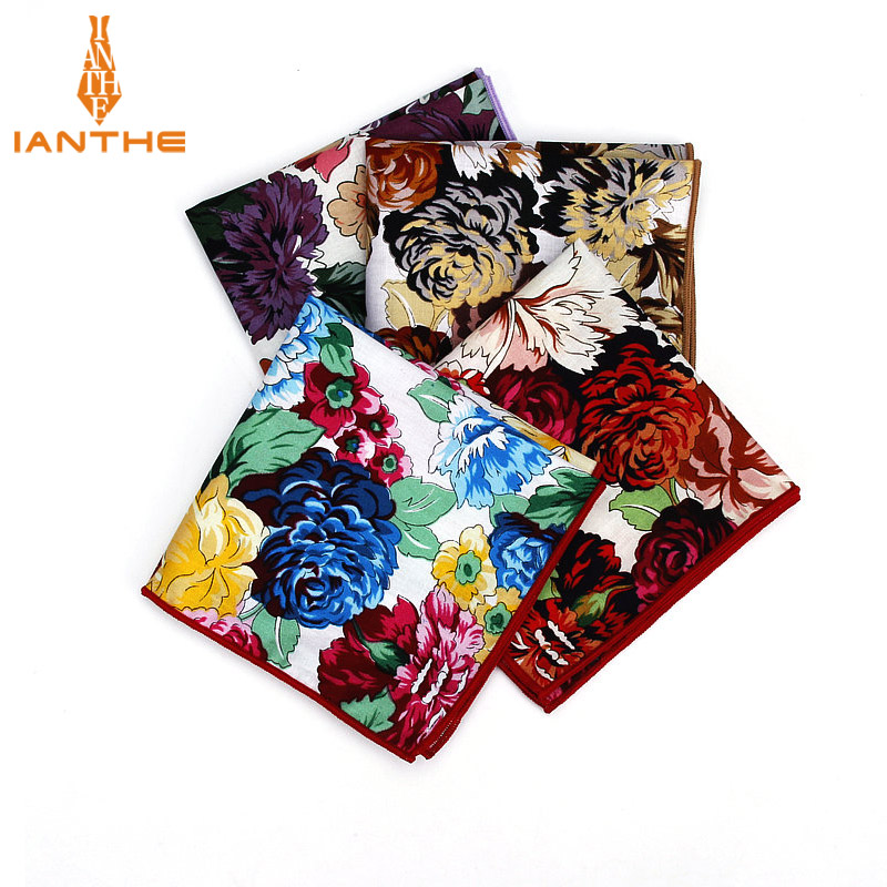 2018 Brand Men Suits Cotton Handkerchief Floral Flower Pocket Square Hankies Men's Wedding Fashion Square Pockets Hanky Towel