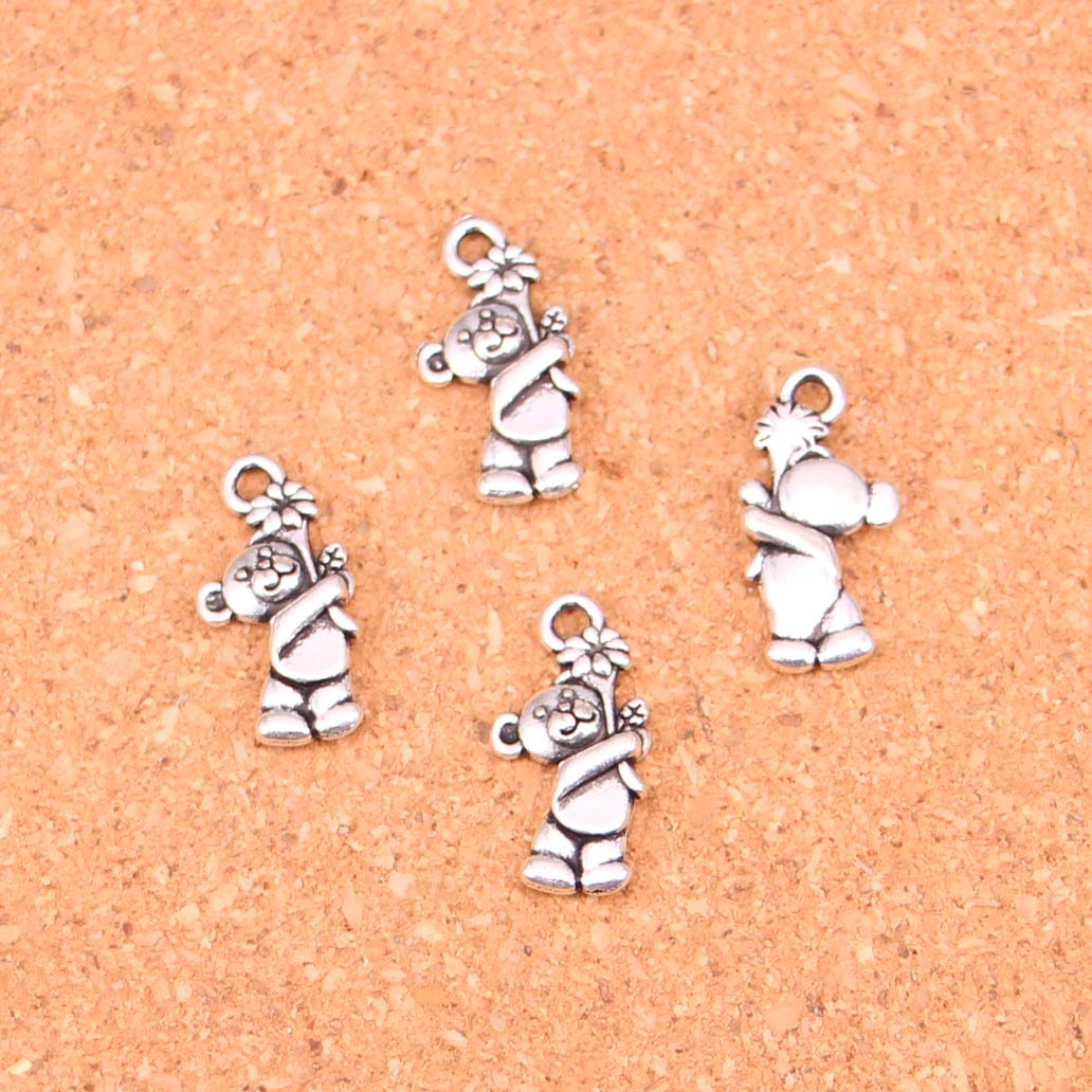 30pcs Tibetan Silver bear flowers Charms for Jewelry Making 19*9mm