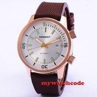 45mm white Dial rose gold case strap rubber Miyota 821A Automatische herenhorloge 21