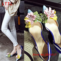 Summer Appliques Wedding Dress Elegant Med Thin High Heel Pumps Pointed Toe Shoes Woman Botas Mujer Sandals Sandalias Mujer Blue
