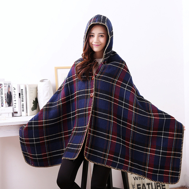 195*100CM Fashion Brand Autumn Cloak Winter Soft Thicken Cashmere Plaid Scarf Shawl Poncho Women Wraps with Cape Hoody JA9022