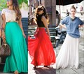 Hot Sale Pleated Chiffon Skirts Women Color Free A Line Floor Length Long Skirt With Ling A Little Sheer Maxi Skirt