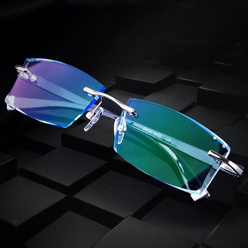 New 58026 Rimless Diamond Eyeglasses Frame for Men Eyewear Fashion image