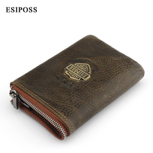 ESIPOSS Fashion 100% Cowhide Leather Men Wallets Short Trifold Hasp Genuine Leather Men's Clutch Coin Purse Card Holder Wallet