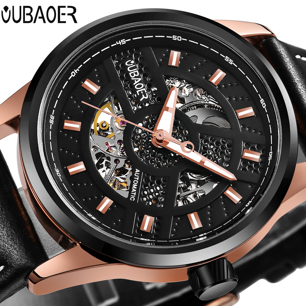 OUBAOER Top Brand Luxury Automatic Mechanical Watch Men Leather Luminous Business Sport Watches Relogio Masculino Mens Watches unique smooth case pocket watch mechanical automatic watches with pendant chain necklace men women gift relogio de bolso