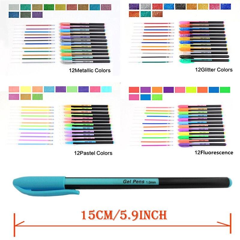 Bianyo 48 sztuk Zestaw Długopis Żelowy Wkłady Metalowe Pastelowe - Długopisy, ołówki i przybory do pisania - Zdjęcie 4