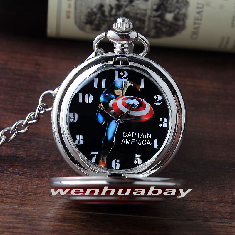 Retro Metal Marvel Super Hero CAPTAIN Quartz Pocket Watch With Pendant FOB Chain Vintage Pocket Clock Men Childs Birthday Gifts