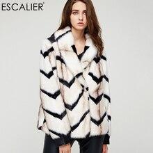 Эскалиер Повседневное модные Искусственный мех пальто зима трикотажные толстые Обувь на теплом меху широкий талией крышка боты куртка с длинными рукавами