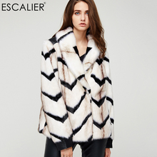 ESCALIER Casual Fashion Faux Fur Coat Winter Knitted Thick Warm Fur Wide-waisted Cover Botton Long Sleeve Jacket