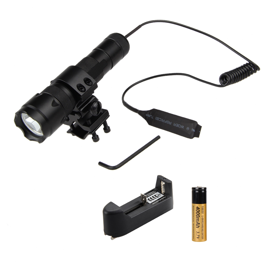 502B Q5 Red LED Tactical Hunting Flashlight Torch Red Light +Mount Gun+Remote Pressure Switch+CH anjoet led hunting flashlight 6000 lumens 3 x xml t6 5mode 3t6 torch light suit gun mount remote pressure switch charger
