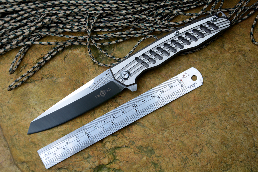 TWOSUN TS 16 Flipper folding knife D2 Satin blade ceramic ball bearing washer TC4 handle outdoor