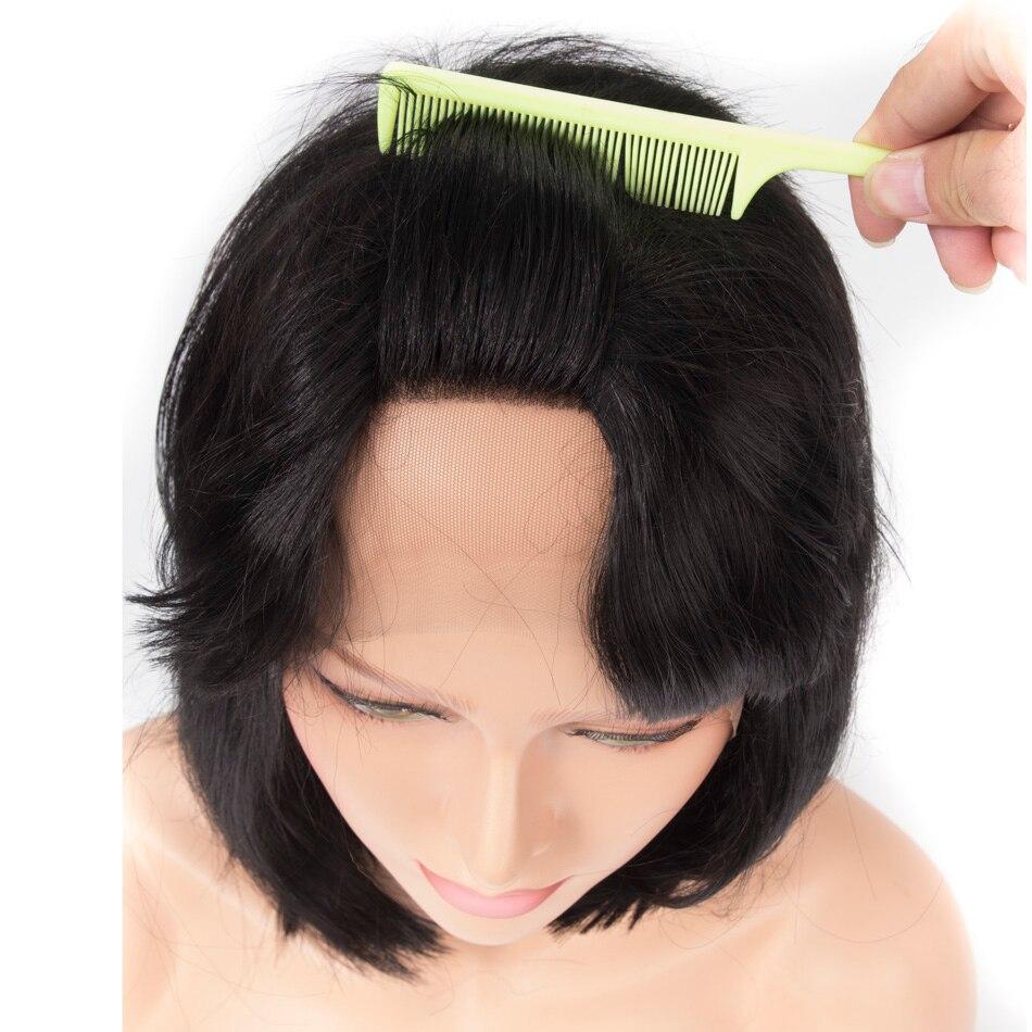 Qp cheveux synthétique vague de corps perruque de cheveux naturel noir 18 pouces dentelle avant Bob perruques réglable pour les femmes africaines Fiber cheveux
