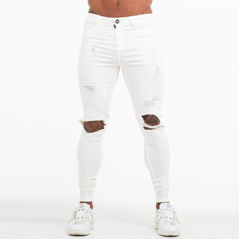 GINGTTO Men's Skinny   Jeans   White Ripped Stretch   Jeans   for Men Elastic Waist Distressed   Jeans   Pants Athletic Body Building zm60