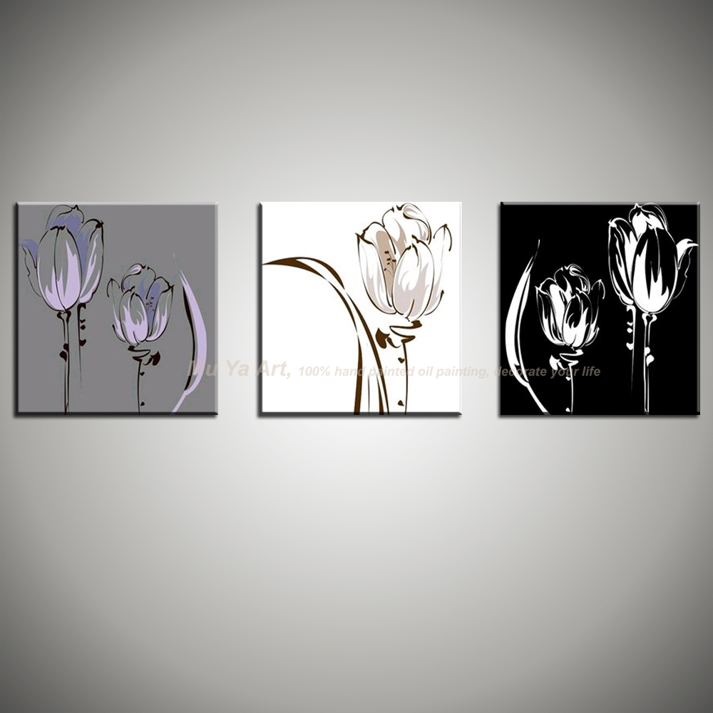 3 piece 100 handmade black and white canvas oil painting with flower on canvas wall art pictures. Black Bedroom Furniture Sets. Home Design Ideas