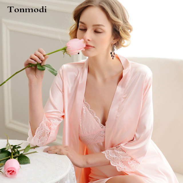Sleeping robe For Women Silk sexy robe V-neck luxury 2 Picecs Nightgown Dresses