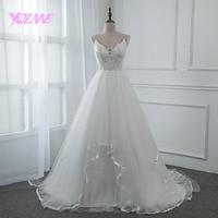 YQLNNE 2018 Vestido De Noiva Simple Lace Tulle Spaghetti Wedding Dress