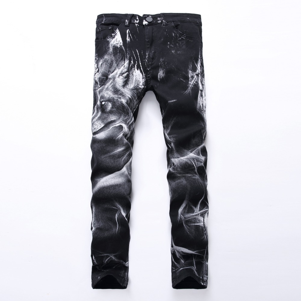 Casual Printed   Jeans   Men Vintage Slim Straight Biker   Jeans   Personality Slim Pant Male Denim Pant Plus Size 42
