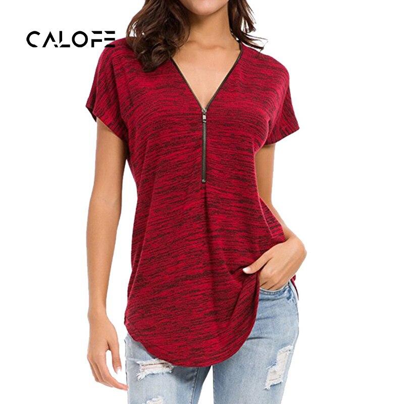 2018 New Sexy red Running T Shirt Women V Neck Zipper Tank Top Fitness Sport shirt Short Sleeve Shirt Femme Streetwear