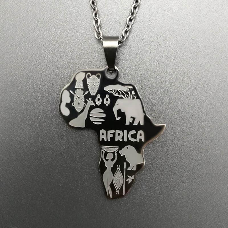 4 цвета Африка Карта Подвеска Цепочки и ожерелья для Для женщин/Для мужчин Эфиопии ювелирных изделий африканские Карты хип-хоп Цепочки и ожерелья поставки - Окраска металла: Родиевое покрытие