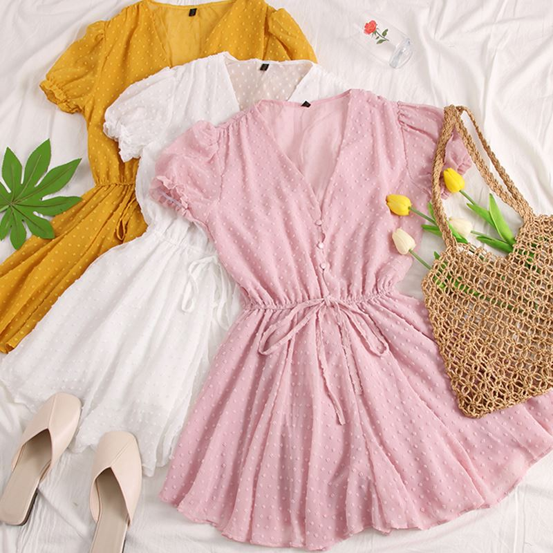 Women Dot Chiffon Rompers Short Sleeves Korean Beach Overalls Bohemian Loose Casual Summer Wide Leg Pants Playsuits