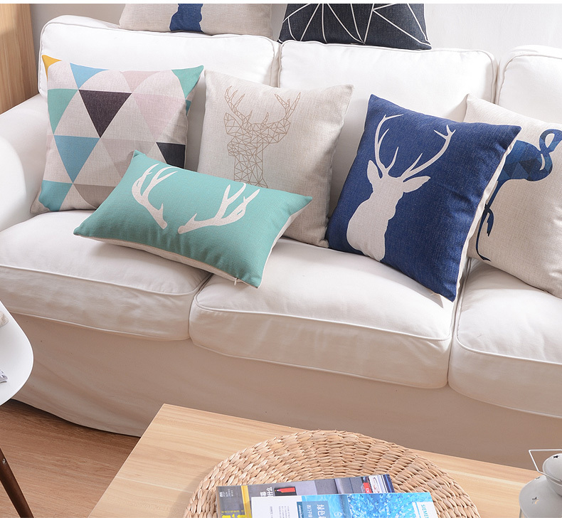 Free shipping Nordic style Cushions Home Decor minimalist deer Cushions For Sofas Linen Material Cushion Cover wholesale