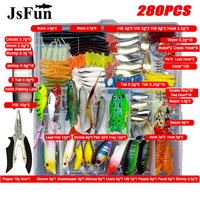 280Pcs Fishing Lure Set Mixed Minnow Spoon Hooks Line Soft Fish Lure Kit In Box Isca Artificial Bait Fishing Tackle Set YE76