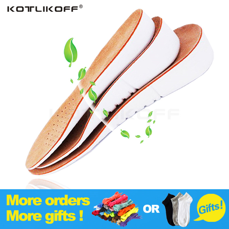 One Pairs High Quality Leather increased insole 3CM Cushion Shoe Lift Height Increase Heel Insoles Pair Taller For Men and Women