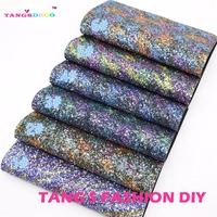 6pcs 3 High Quality Top Level Mix Color Chunky Glitter Leather Synthetic Leather DIY Fabric 20x22cm