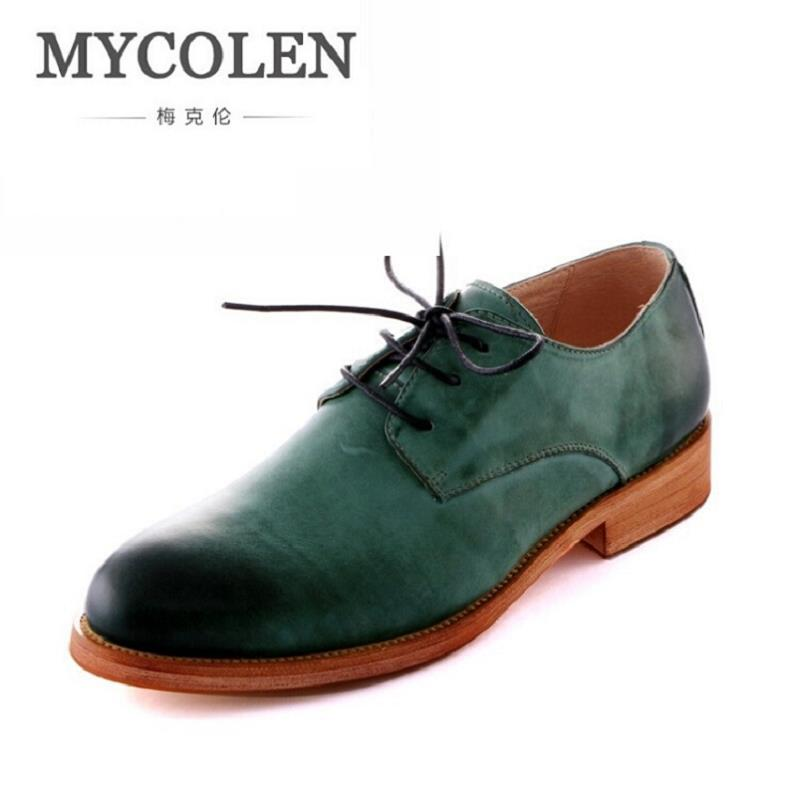MYCOLEN Business Men Shoes Leather Blue Black Green Lace Up Dress Oxfords Top Quality Men'S Dress Shoes Italian Erkek Ayakkabi gram epos men casual shoes top quality men high top shoes fashion breathable hip hop shoes men red black white chaussure hommre