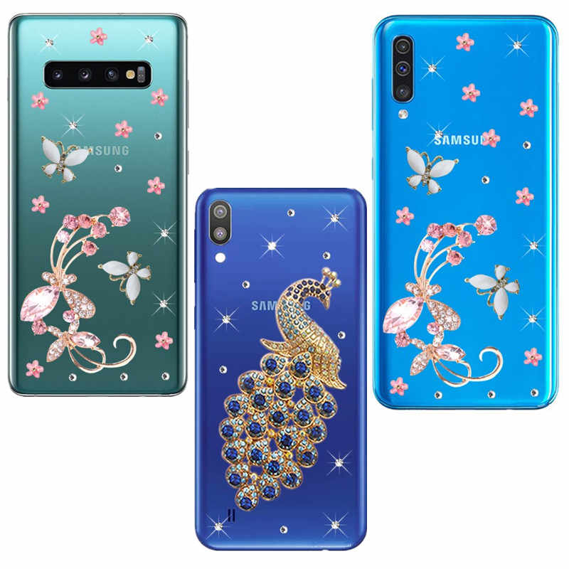 For Samsung Galaxy S10 A6 Plus A7 2018 A5 A3 2017 A20E A10 M10 M20 M30 A30 A40 A50 Phone Case butterfly flowers clear back Cover