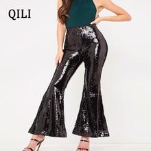 QILI Women Flare Pants Glitter Sequined Trousers Mid Waist Rear Zipper Long New Fashion Womens Elegant Sequin