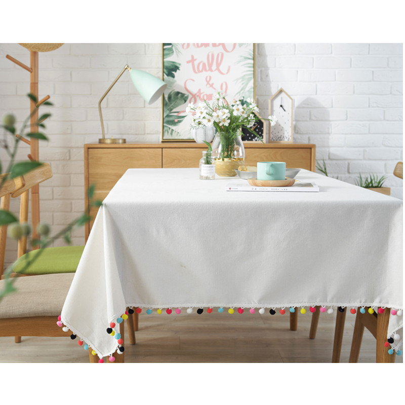 Scandinavian simple cotton and hemp printing color ball tassel Tablecloth tea table cloth white table cover home decoration image