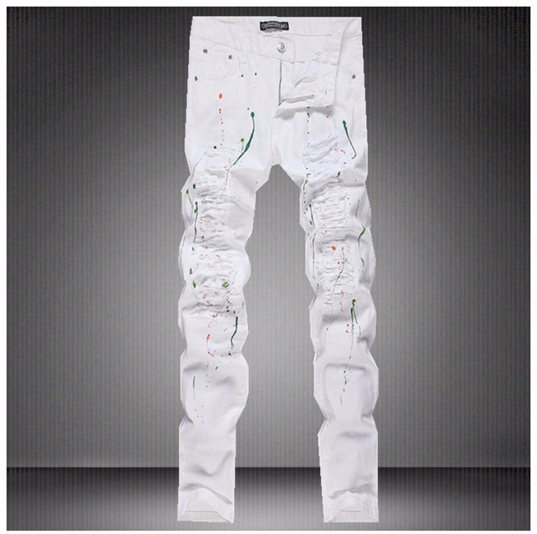 ФОТО Men ripped biker jeans Men famous Brand white man jeans fashion skinny trousers vaqueros hombre men elastic casual harem pants