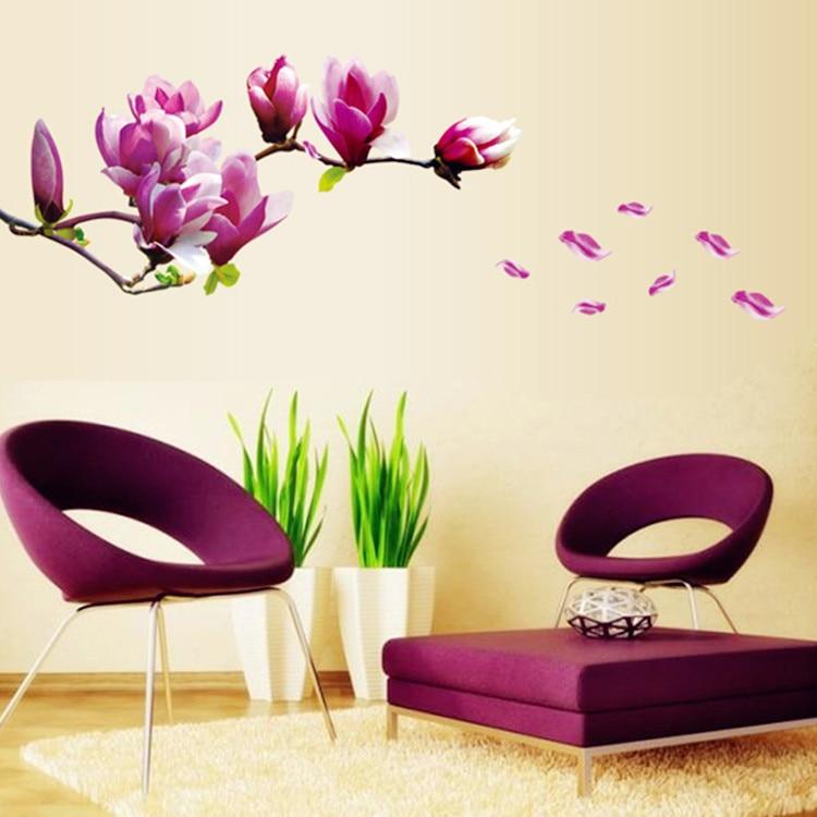 comprar gran tamao de color rosa flor de la magnolia sof de diseo de papel tapiz de vinilo pegatinas de pared decoracin de
