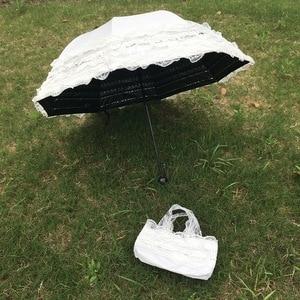 Image 2 - 結婚式のレースの紫外線防折りたたみ傘屋外サニー日傘王女のウェディング撮影小道具