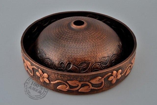 Lavabo de cobre artístico retro hecho a mano flor vid circular lavabo de baño