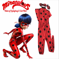 New 2016 Kids Adult Miraculous Ladybug Cosplay Costume W Eye Mask Ladybug Romper Costume Cat Suit