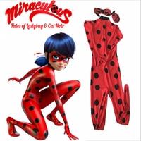 New 2016 Kids Adult Miraculous Ladybug Cosplay Costume W Eye Mask Ladybug Romper Costume Cat Suit