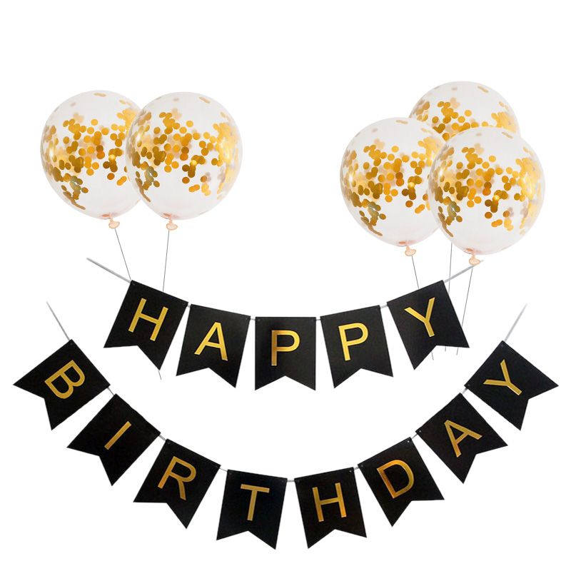 Black Gold Happy Birthday Banner Balloons With Helium Number Foil Balloon for Baby Party Decorations 2