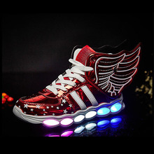 NEW Girls Luminous LED Light Shoes Angel Wings Baby Boys Casual Led Kids Children Sneakers